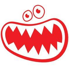 Monster Gesicht, rot, Velours-Motiv zum Aufbügeln