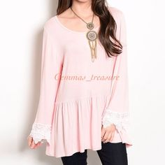 """ASK ME FOT $1.99 SHIPPING‼️️COMMENT SIZE BELOW This dropped waist knit top features long sleeve trimmed in scalloped lace. To wear approx how the model is wearing it, go up a size or two.   PCP4200-6U MADE IN THE USA 95% RAYON 5% SPANDEX Size Scale: S-M-L Size Ratio: 2-1-2 SMALL B: 16""""  W: 16"""" L: 27"""" MED B: 17"""" W: 17"""" L: 28"""" LARGE B: 18"""" W; 18"""" L: 28"""" Tops"""