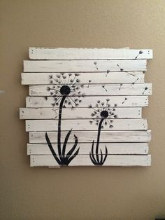 Dandelions in the living room silhouette art painting waterc Popsicle Stick Art, Popsicle Stick Crafts, Craft Stick Crafts, Art N Craft, Diy Art, Diy Home Crafts, Arts And Crafts, Painted Sticks, Creative Artwork