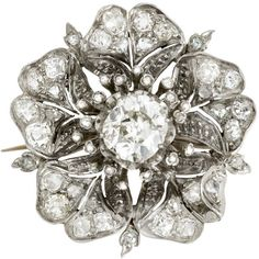 Pre-owned Late Victorian Diamond Blossom Pin ($12,500) ❤ liked on Polyvore featuring jewelry, brooches, antique diamond brooch, flower brooch, flower pin brooch, antique pins brooches and rose brooch