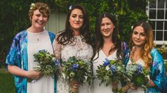 Olivia and her bridesmaids at her wedding in the summer. All the bridesmaids wore matching bespoke screen printed Silk Kimono with devore detail. The groomsmen all wore matching bespoke, screen printed bow ties and pocket square sets.