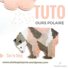 Tuto Diagrammes « Ours polaires Mug Rug Patterns, Peyote Patterns, Loom Patterns, Beading Patterns, Embroidery Patterns, Beading For Kids, Beaded Banners, Native Beadwork, Peyote Beading