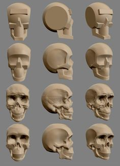 So hey guys, this is my first sculpt in zbrush and I would appreciate any critiques and advices. Wood Carving Faces, Wood Carving Patterns, Wood Carving Art, Bone Carving, Wood Art, Dremel Carving, Carving Wood, Skull Anatomy, Anatomy Art
