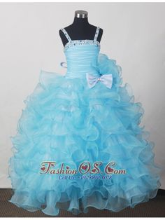 Custom Made For Affordable Little Girl Pageant Dresses With Beading Bow and Ruffled Layers http://www.fashionos.com http://www.facebook.com/quinceaneradress.fashionos.us Lovely Little Girl Pageant Dress. This organza pageant dress features strap straight cut neckline with ruching and beading and a ruffled full skirt. It makes this beautiful dress perfect for your 2013 pageant.
