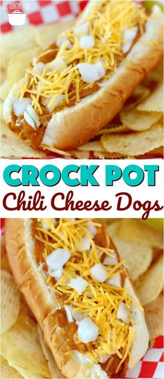 Crock Pot Chili Cheese Dogs recipe from The Country Cook #crockpot #slowcooker #chili #cheese #hotdogs #easy #recipes #ideas #kidfriendly #summer #bbq