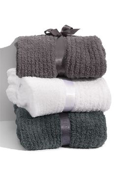 """Barefoot Dreams® Cozy Chic Ribbed Blanket $168.00  Cozy, light, lusciously warm and easy to take care of, in machine-washable polyester microfiber.   Approx. dimensions: twin 66""""W x 85""""L; king/queen 96""""W x 96""""L.  Polyester; machine wash.  By Barefoot Dreams®; imported."""