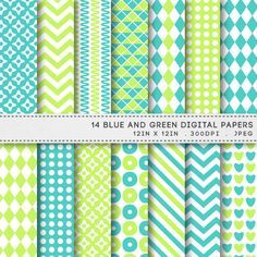 Blue & Green Digital Paper Pack Printable Patterns by AzmariDigitals