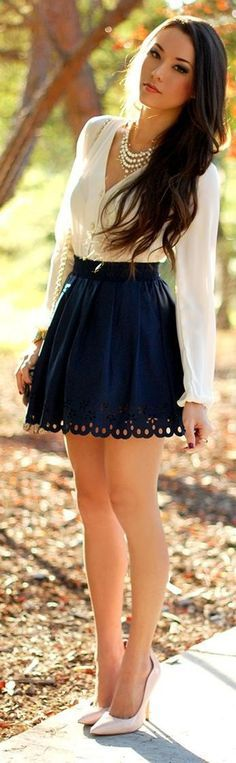 Hollow out beautiful skirt ,comfy blouse and cute pumps Spring Outfits For Teen Girls, Teen Girl Outfits, Preppy Outfits, Skirt Outfits, Cool Outfits, Fashion Outfits, Preppy Clothes, Fashion Goth, Classy Outfits For Teens