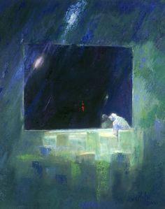 Willem G van de Hulst    'Sluitingstijd'  olieverf op linnen,  100 x 80 cm,  2000