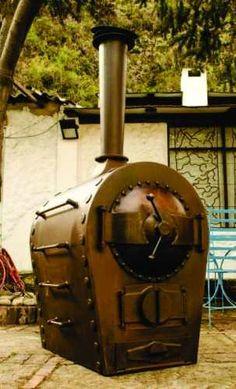 horno de leña locomotora Wood Stoves, Stove Oven, Rocket Stoves, Ovens, Blacksmithing, Hearth, Fireplaces, Brick, Bbq