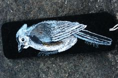 Tufted Titmouse, Bookmark, Hand-Painted on Stiffened Felt with Tassel and Charm by ArtfullyReDesigned on Etsy