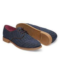 Another great find on #zulily! Blue Denim Herringbone Brogue Classic Oxford by TOMS #zulilyfinds