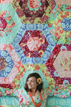 Amy Butler's Love Fabrics with The Sexy Hexy Quilt - free pattern!