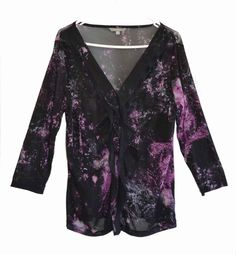 Free Postage (Size XL) Suzanne Grae Sheer Frill Front BlackGalaxy Blouse Size 18