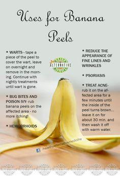 Uses for Banana Peels! Banana Peel Uses, Banana Peels, Natural Home Remedies, Herbal Remedies, Health Remedies, Banana Benefits, Fruit Benefits, Beauty Skin, Health And Beauty