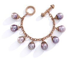 "Mish New York Nigella pink pearl charm bracelet with pink freshwater cultured pearls mounted in 18k rose gold and set with brown diamond pave, $48,000, <a href=""http://mishnewyork.com/"">mishnewyork.com</a> -Wmag"
