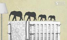 Safari Elephants Wall Decal - animal wall decal - jungle zoo nursery children wall decal - K083. $32.00, via Etsy.