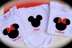 Girl's or Boy's Mickey/Minnie Shirt...Custom Personalized Minnie Mouse Onesie or Shirt...Great for Disney trip....Vacation. $22.50, via Etsy.
