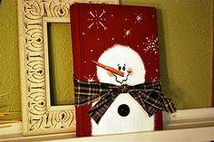 snowman painted vintage book.  Paint on canvas