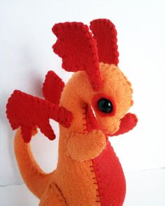 Baby Dragon felt plush stuffed animal orange with red by Kklaus, $25.00