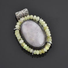 Byzantium Pendant - Rose Quartz, Grossular Garnet Beads, and Sterling Silver. $149.00 Get it here: http://www.sinclairjewelry.com/index.php/products/pendants/products/rings#!/~/product/category=6191045&id=26506808 #jewelry #pendant #silver #byzantine #medieval #rose #quartz #garnet #green #pink #accessories #handmade