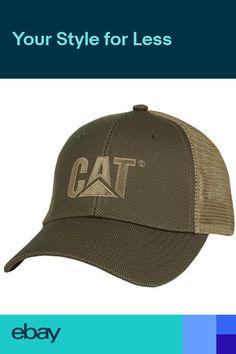 Caterpillar CAT Equipment Trucker Olive   Tan Twill Mesh Diesel Cap Hat  Vintage f02e51daecdf