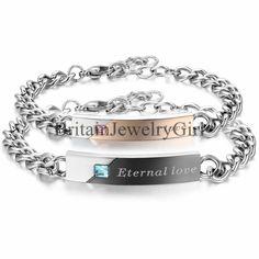 Eternal Love Stainless Steel Men Women Couple Bangle Chain Bracelet Promise Gift #Unbranded #Bangle