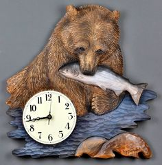 Wooden Gifts Carved by Hand Bear Clocks Unique Wood carvings Wooden Clocks by Vladimir Davydov Birthday Handmade in Québec Original Gifts