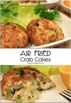 """If you are looking for a healthy recipe for crab cakes, this is the one. This crab cakes taste so good that you will not be able to tell that they were pan """"fried"""" in the air fryer. When eating crab cakes I love big chunks of crab Air Fryer Recipes Wings, Air Fryer Recipes Snacks, Air Fryer Recipes Low Carb, Air Fryer Recipes Breakfast, Air Frier Recipes, Air Fryer Dinner Recipes, Griddle Recipes, Crab Cake Recipes, Seafood Recipes"""