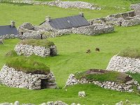 Cleits and Cottages, St Kilda (Scotland) St Kilda is about 60 miles west of the Outer Hebrides, and weather conditions often prevent landing on the main island of Hirta. St Kilda Scotland, Outer Hebrides, Scottish Islands, Scotland Travel, British Isles, Countries Of The World, Great Britain, Travel Pictures, Edinburgh