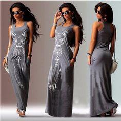 Sexy O-Neck Sleeveless Cat Print Summer Maxi Dress Black Gray. #maxidress #budgetpriced #plussize #womensfashion http://s.click.aliexpress.com/e/Fm6uNZJ6m