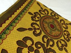 Kenyan Fabric--African Wax Print Fabric--Dashiki Style Fabric--Java Print Red and Gold Medallions--African Wax Print Fabric by the PANEL - pinned by pin4etsy.com