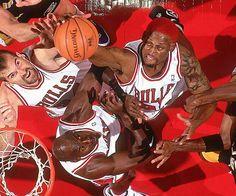 Bill Wennington, Michael Jordan and Dennis Rodman
