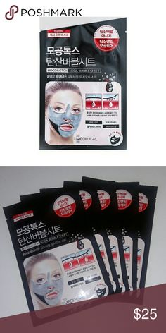 Face Mask Mogongtox Soda Bubble Sheet - 5 Pack  This unique bubble mask sheet specializes in deeply cleansing the pores, making them appear tighter and leave the skin brighter. With a rich formulation of herbal extracts and carbonated water, this mask foams up by itself to create microbubbles that will help treat your pores efficiently. This also serves as a mild facial massage to soften up accumulated dirt in order for it to be easily washed away. It's peeling technology helps eliminate…