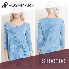 Tie Dye side strap 3 qtr sleeve tunic Beautiful Chambray blue side strap knit tunic with 3 quarter sleeves- color reminds me of the Caribbean! Tops Tunics