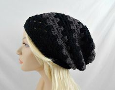 Black Striped Hat, Striped Slouch Hat, Slouchy Beanie, Vegan Hat, Womens Winter Hat, Granny Stitch Beanie, Black Beanie Hat, Crochet Beanie