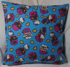 The fourth in the Hello Kitty series. 14 inch pillow made of 100% cotton with a zipper on the bottom for easy washing.