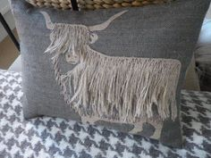 Interesting pillows ---hand printed and appliqued shaggy highland cow cushion via Etsy Textiles, Sewing Crafts, Sewing Projects, Sewing Pillows, Applique Cushions, Embroidered Pillows, Crochet Hook Set, How To Make Pillows, Hessian