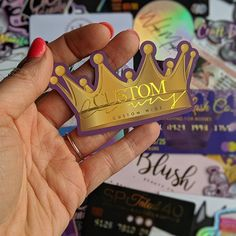 Die Cut Business Cards in the Shape of a Crown with Shiny Gold Foil. www.ShaynaMade.com