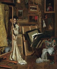 La Psyché (Mon Atelier) (1871). Alfred Stevens (Belgian, Academic, 1823-1906). Oil on panel. Thomas Colville Fine Arts. Candid views of pain...
