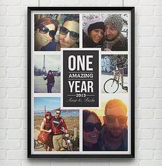 'One Amazing Year' Personalised Photo Print - 1st anniversary: paper