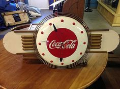Original 1941 COKE Coca Cola Factory Issued Promotional Art Deco Clock.   Back in the Day Classics
