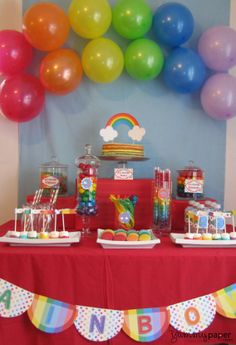 Rainbow Party Table Rainbow parties Rainbow party themes and
