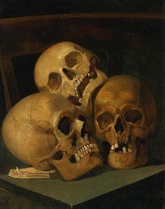 Henri Jan Augustyn Leys Still Life with Three Skulls 19th century