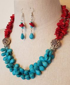 Your place to buy and sell all things handmade Stone Necklace, Beaded Necklace, Beaded Bracelets, Necklaces, Crystal Beads, Glass Beads, Beaded Earrings Patterns, Coral Stone, Southwestern Jewelry