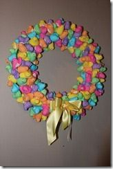 Easter Wreath! Hang it indoors because it is covered in those nasty yet adorable little peeps!