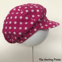 How To Sew A Reversible Newsboy Hat - The Sewing Pixies Sewing Patterns Girls, Hat Patterns To Sew, Baby Dress Patterns, Sewing For Kids, Free Sewing, Machine Embroidery Thread, Scarf Tutorial, Diy Hat, News Boy Hat