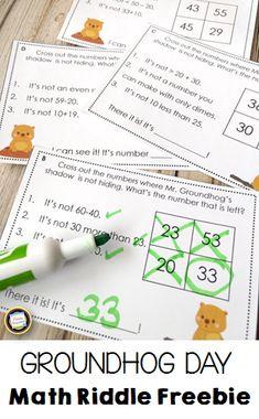 Math Riddle Task Cards for Groundhog Day - Classroom Freebies Math Resources, Math Activities, Math Games, Classroom Resources, Classroom Ideas, Maths Puzzles, Maths Riddles, Math Manipulatives, Math Worksheets