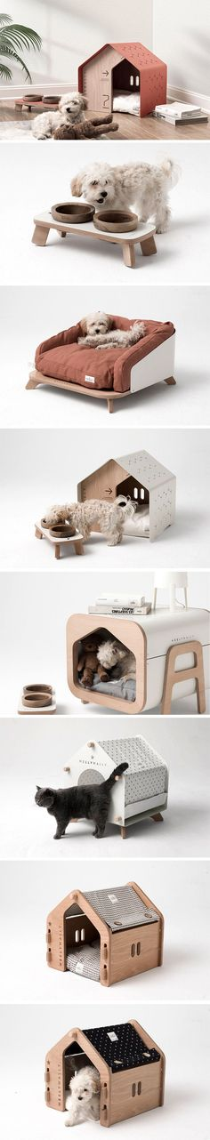 Product designer Onurhan Demir has created a collection of premium furniture items for your little f Yanko Design, Pet Furniture, Furniture Design, Mocca, Pet Home, Dog Houses, Animal Design, Little Houses, Dog Accessories
