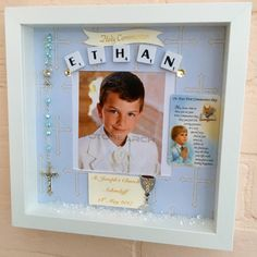 Boy's First Holy Communion Photo Frame, Communion Gift, Holy Communion Keepsake, First Rosary Beads, Holy Communion Rosary Beads